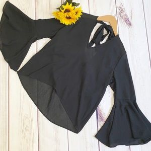 DIVIDED Solid Black Bell Sleeve Top